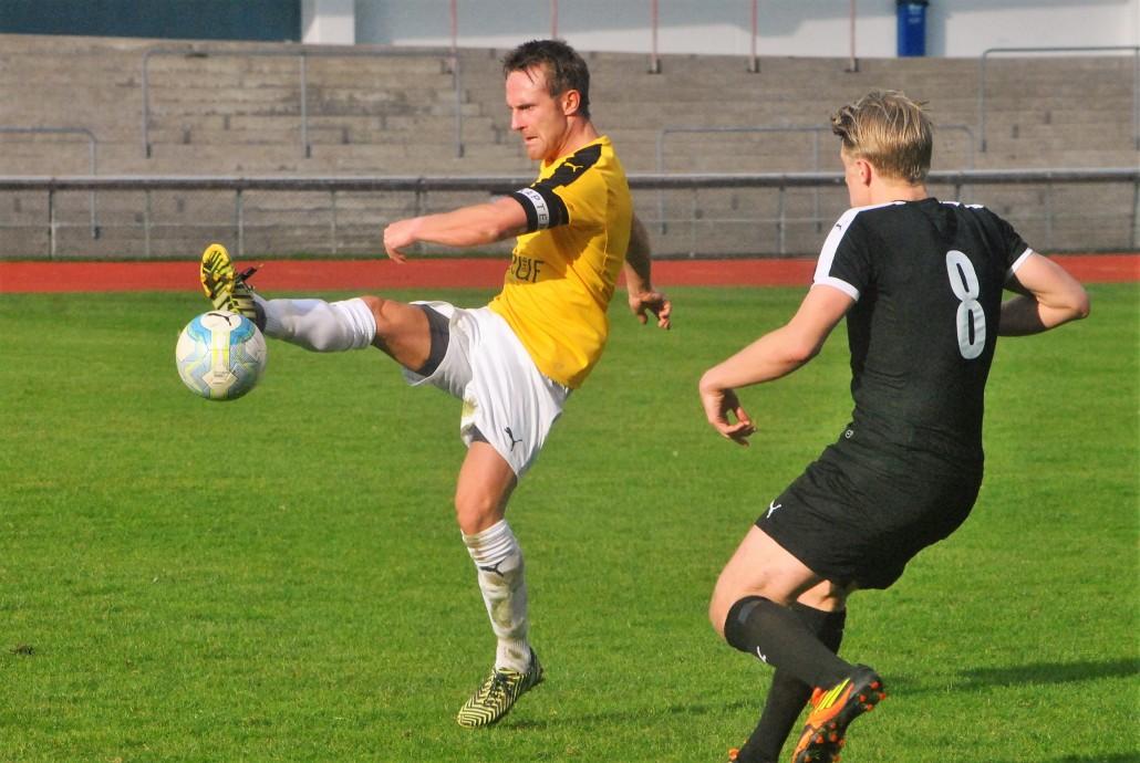 Lagkaptenen Martin Ingelsson nickade in IFK Malmös första seriemål för året. Foto: Michael Lindholm